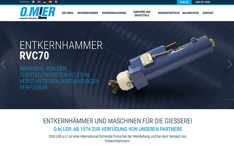 Online das neue O.M.LER s.r.l. Website