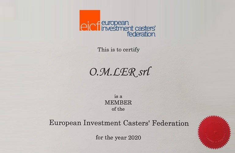 O.M.LER s.r.l.: membro della European Investment Casters' Federation per l'anno 2020